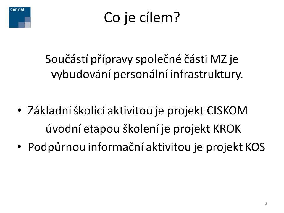 Co je cílem? Součástí přípravy společné části MZ je vybudování personální infrastruktury. • Základní školící aktivitou je projekt CISKOM úvodní etapou