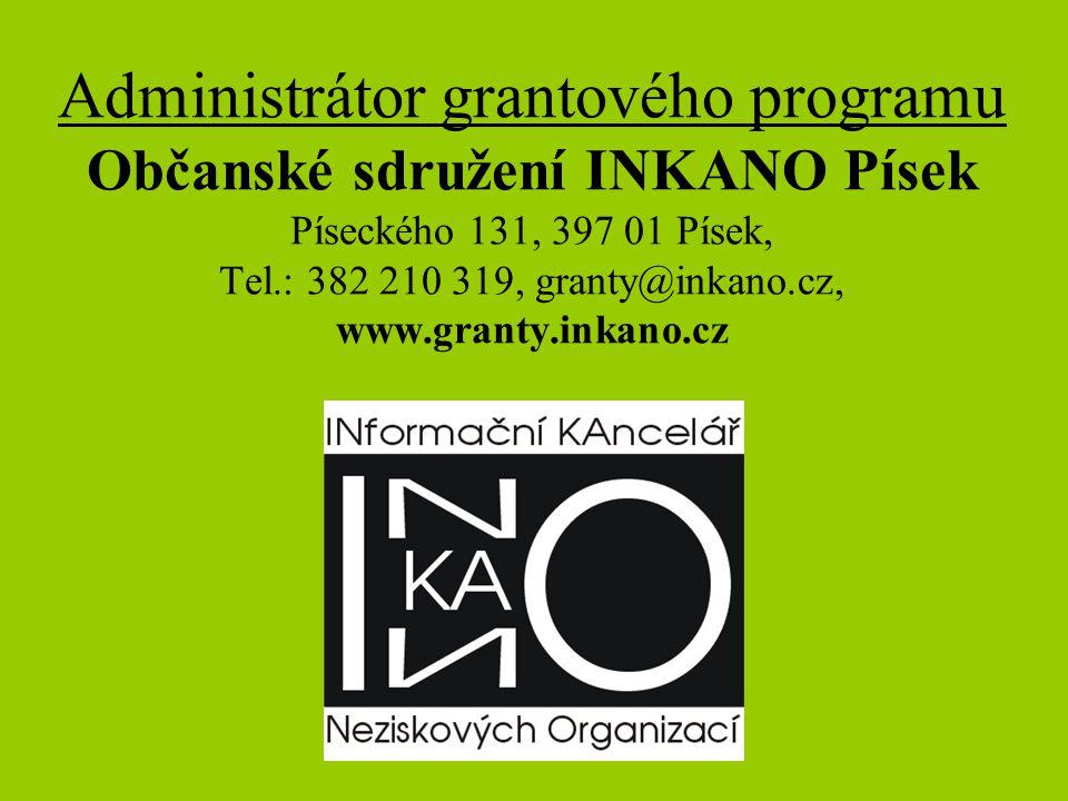 HODNOTÍCÍ KOMISE •1 pracovník odboru kultury a CR města Písek •max.