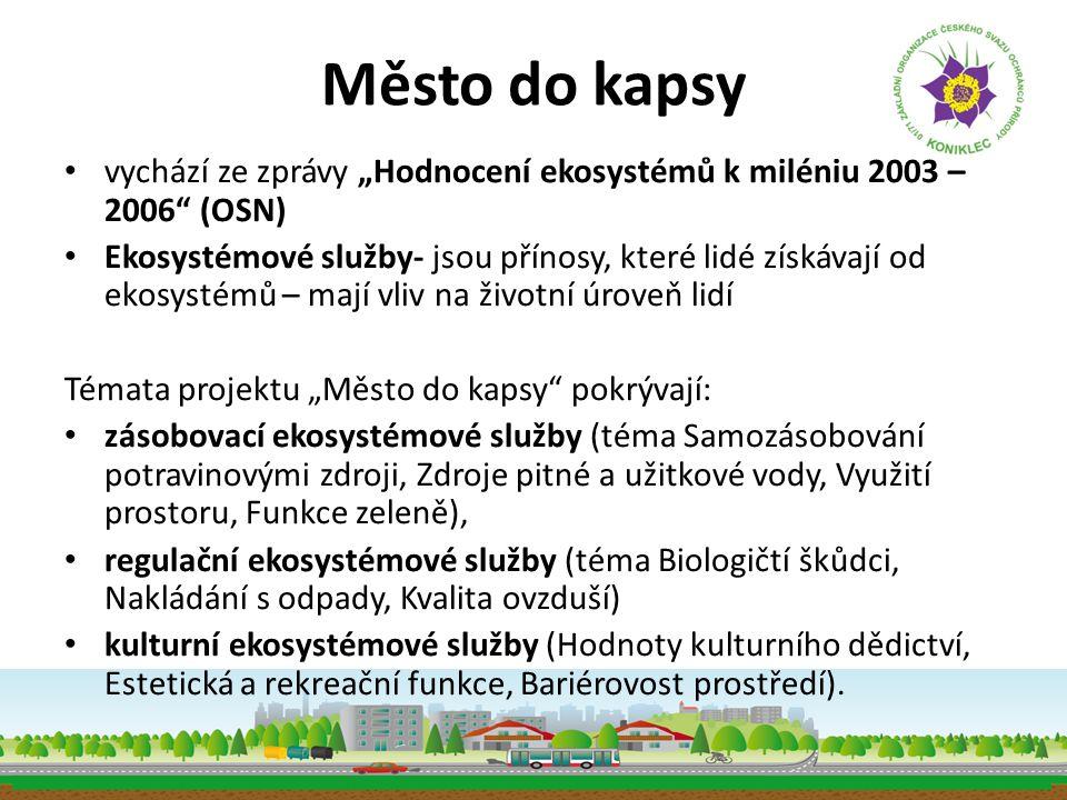 """Město do kapsy • vychází ze zprávy """"Hodnocení ekosystémů k miléniu 2003 – 2006"""" (OSN) • Ekosystémové služby- jsou přínosy, které lidé získávají od eko"""
