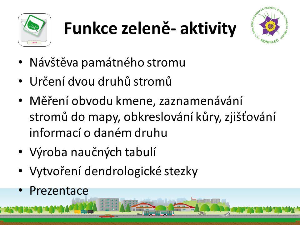 Funkce zeleně- aktivity • Návštěva památného stromu • Určení dvou druhů stromů • Měření obvodu kmene, zaznamenávání stromů do mapy, obkreslování kůry,