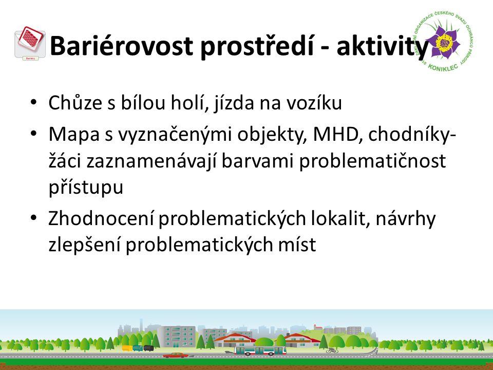 Bariérovost prostředí - aktivity • Chůze s bílou holí, jízda na vozíku • Mapa s vyznačenými objekty, MHD, chodníky- žáci zaznamenávají barvami problem