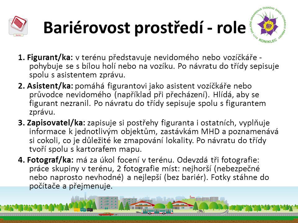 Bariérovost prostředí - role 1. Figurant/ka: v terénu představuje nevidomého nebo vozíčkáře - pohybuje se s bílou holí nebo na vozíku. Po návratu do t