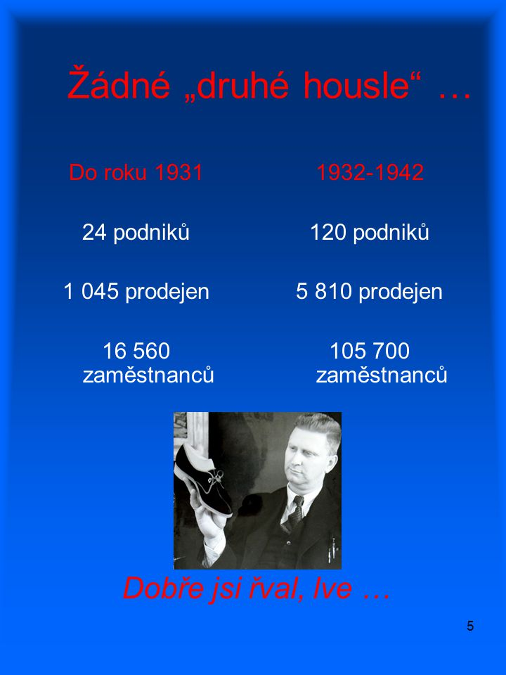 """5 Žádné """"druhé housle"""" … Do roku 1931 24 podniků 1 045 prodejen 16 560 zaměstnanců 1932-1942 120 podniků 5 810 prodejen 105 700 zaměstnanců Dobře jsi"""