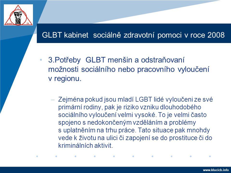 Company LOGO www.company.com GLBT kabinet sociálně zdravotní pomoci v roce 2008 •3.Potřeby GLBT menšin a odstraňovaní možnosti sociálního nebo pracovn