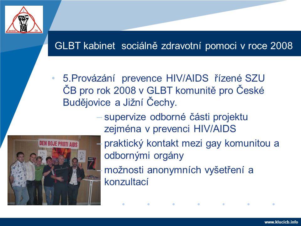 Company LOGO www.company.com GLBT kabinet sociálně zdravotní pomoci v roce 2008 •5.Provázání prevence HIV/AIDS řízené SZU ČB pro rok 2008 v GLBT komun