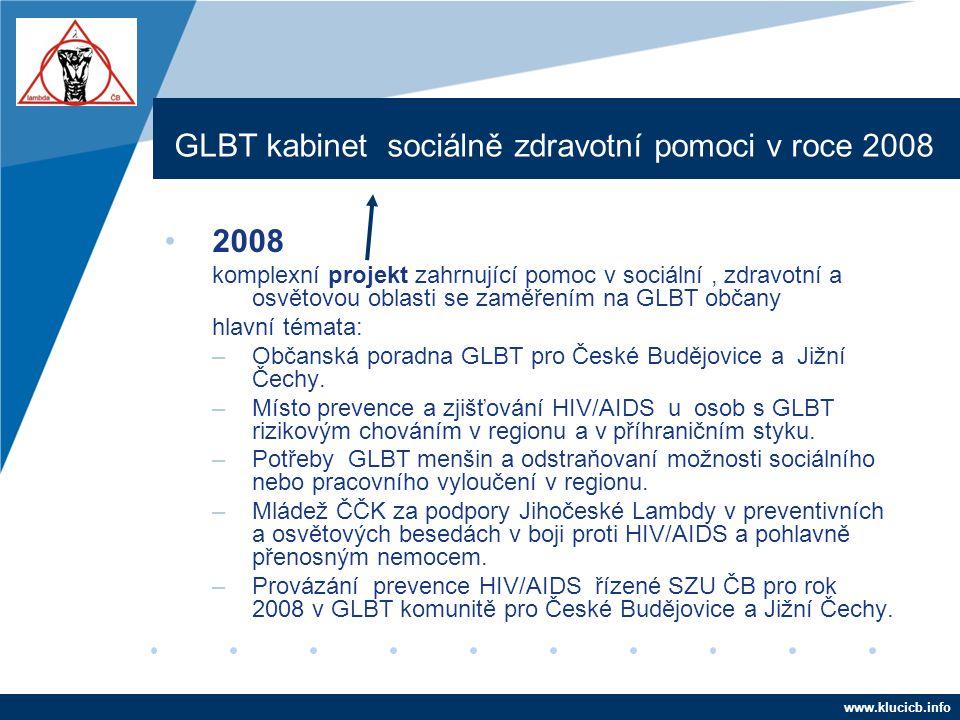 Company LOGO www.company.com GLBT kabinet sociálně zdravotní pomoci v roce 2008 •2008 komplexní projekt zahrnující pomoc v sociální, zdravotní a osvět
