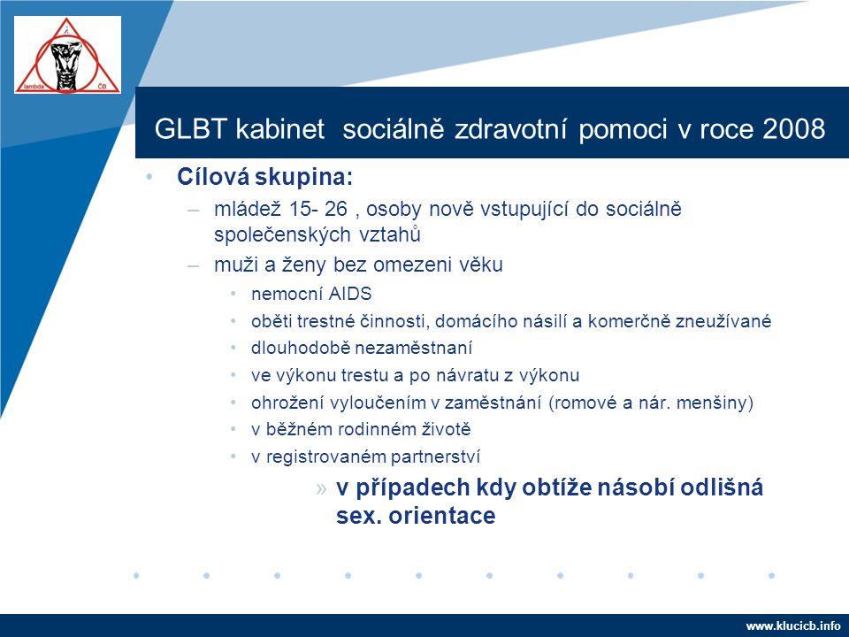 Company LOGO www.company.com GLBT kabinet sociálně zdravotní pomoci v roce 2008 •Cílová skupina: –mládež 15- 26, osoby nově vstupující do sociálně spo