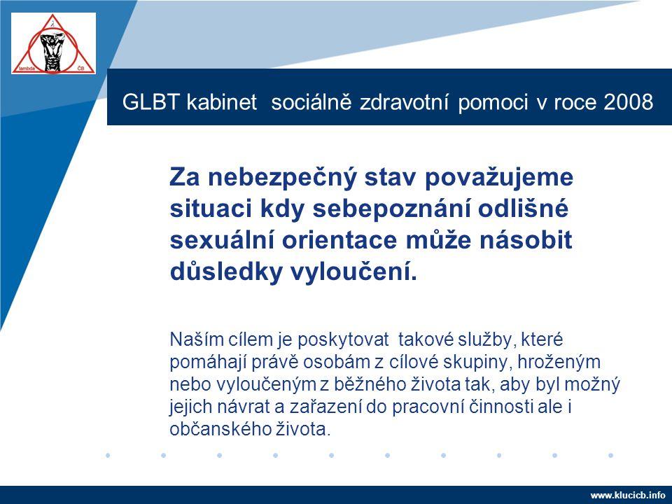 Company LOGO www.company.com GLBT kabinet sociálně zdravotní pomoci v roce 2008 Za nebezpečný stav považujeme situaci kdy sebepoznání odlišné sexuální