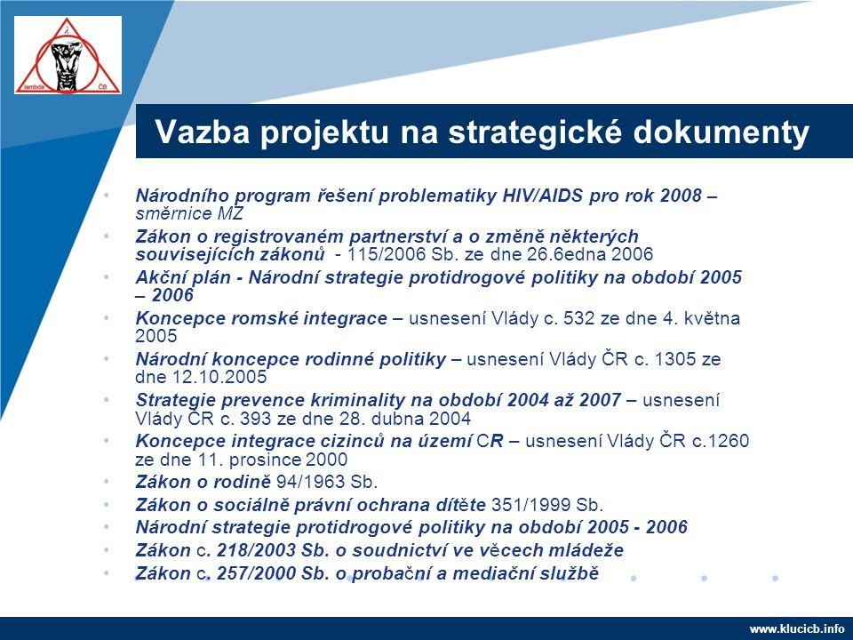Company LOGO www.company.com Vazba projektu na strategické dokumenty •Národního program řešení problematiky HIV/AIDS pro rok 2008 – směrnice MZ •Zákon