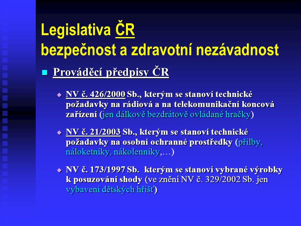 Legislativa ČR bezpečnost a zdravotní nezávadnost  Prováděcí předpisy ČR  NV č.