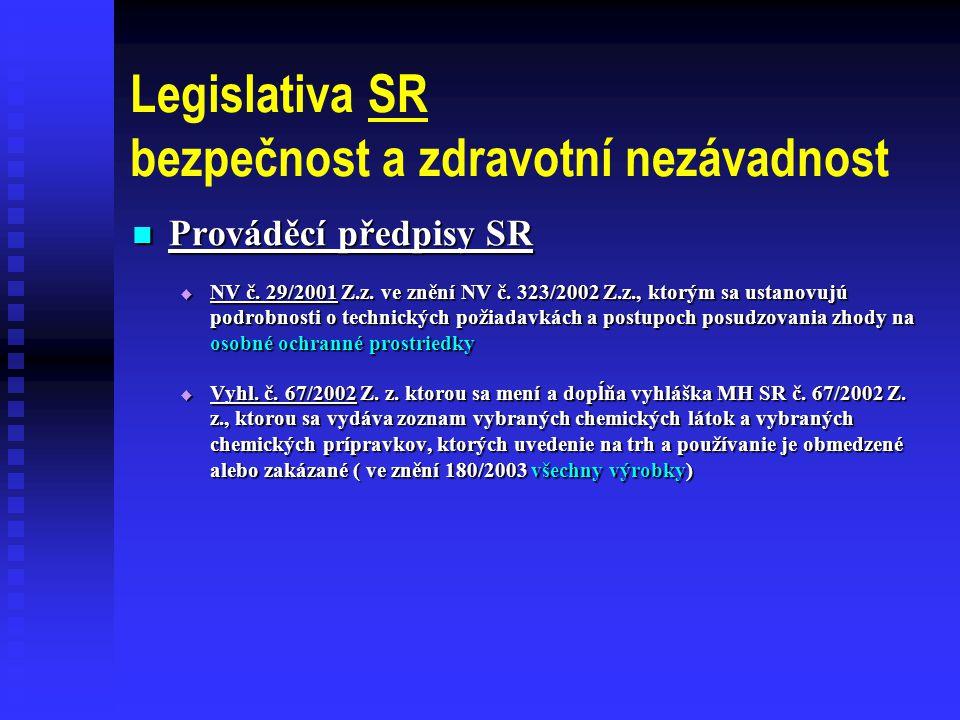 Legislativa SR bezpečnost a zdravotní nezávadnost  Prováděcí předpisy SR  NV č.