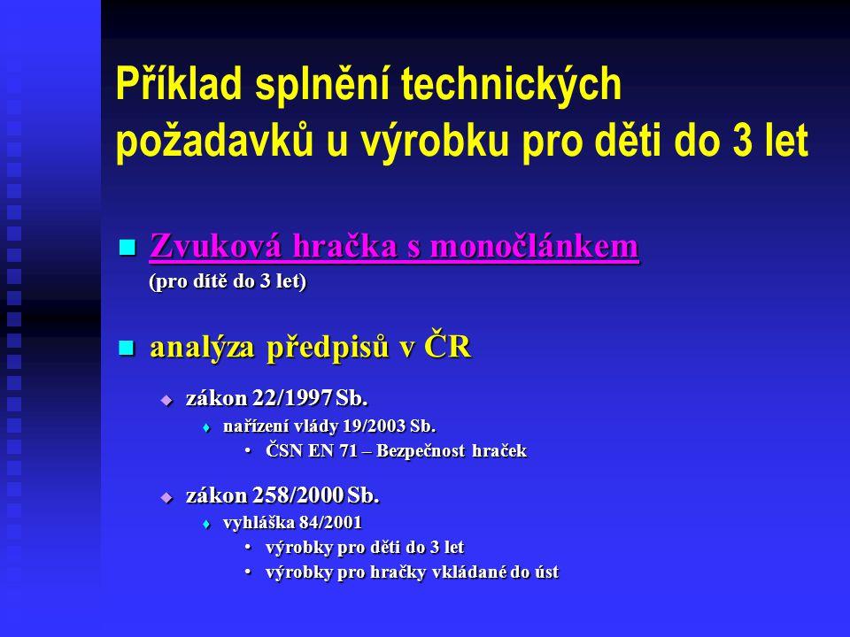 Příklad splnění technických požadavků u výrobku pro děti do 3 let  Zvuková hračka s monočlánkem (pro dítě do 3 let)  analýza předpisů v ČR  zákon 22/1997 Sb.