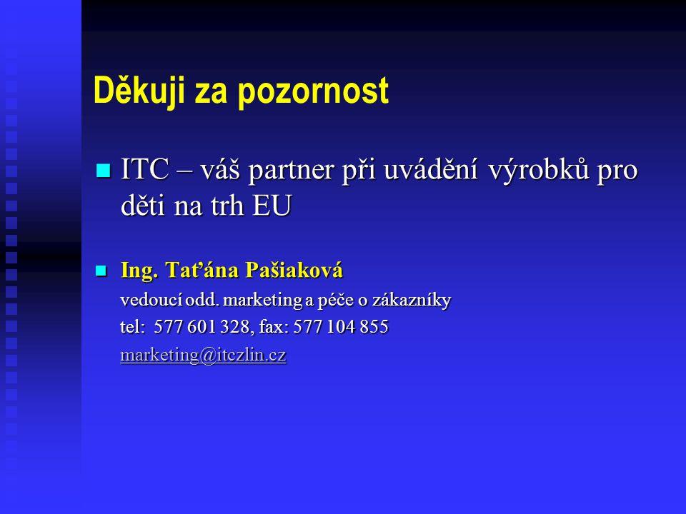 Děkuji za pozornost  ITC – váš partner při uvádění výrobků pro děti na trh EU  Ing.