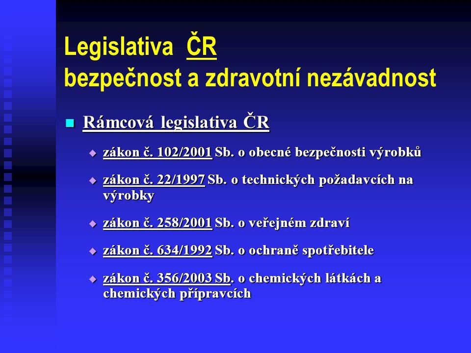 Legislativa ČR bezpečnost a zdravotní nezávadnost  Rámcová legislativa ČR  zákon č.