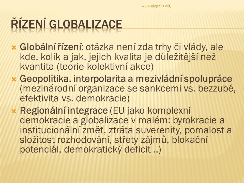  Globální řízení: otázka není zda trhy či vlády, ale kde, kolik a jak, jejich kvalita je důležitější než kvantita (teorie kolektivní akce)  Geopolitika, interpolarita a mezivládní spolupráce (mezinárodní organizace se sankcemi vs.