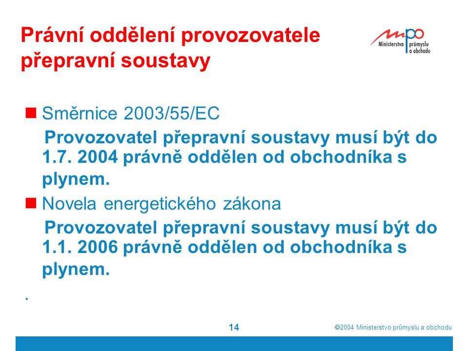  2004  Ministerstvo průmyslu a obchodu 14 Právní oddělení provozovatele přepravní soustavy  Směrnice 2003/55/EC Provozovatel přepravní soustavy musí být do 1.7.