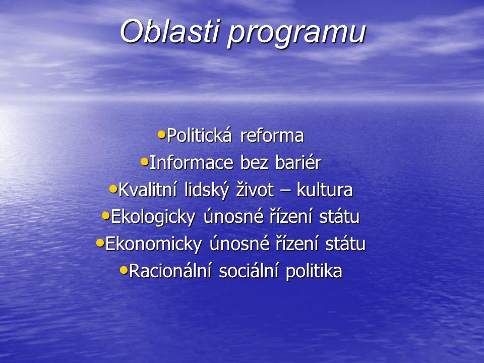 Oblasti programu • Politická reforma • Informace bez bariér • Kvalitní lidský život – kultura • Ekologicky únosné řízení státu • Ekonomicky únosné řízení státu • Racionální sociální politika