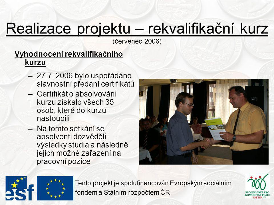 Realizace projektu – rekvalifikační kurz (červenec 2006) Tento projekt je spolufinancován Evropským sociálním fondem a Státním rozpočtem ČR.