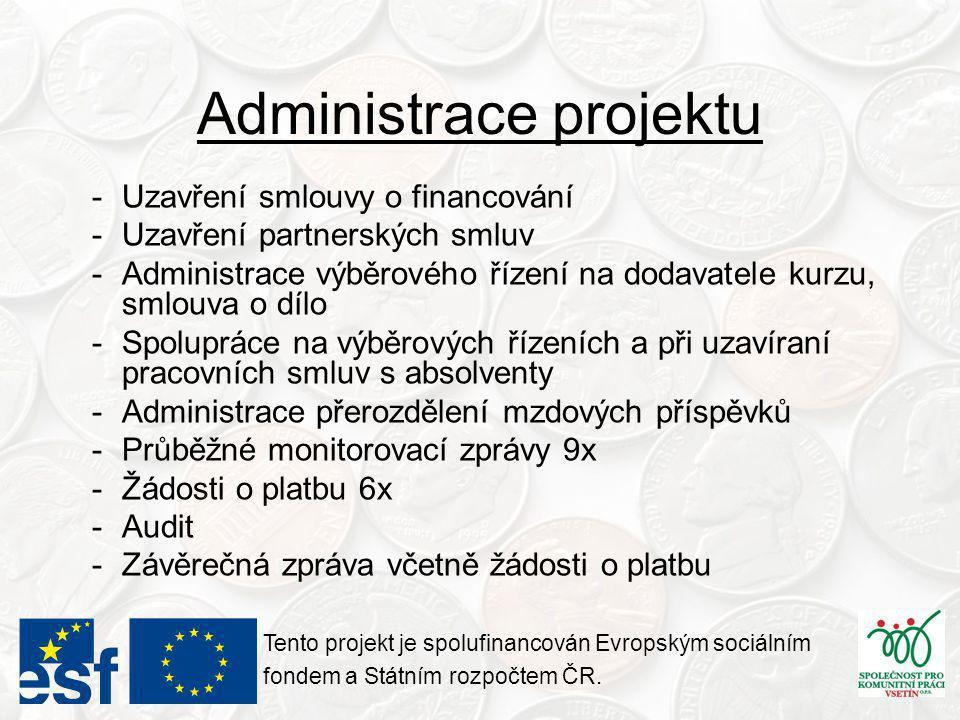 Administrace projektu -Uzavření smlouvy o financování -Uzavření partnerských smluv -Administrace výběrového řízení na dodavatele kurzu, smlouva o dílo -Spolupráce na výběrových řízeních a při uzavíraní pracovních smluv s absolventy -Administrace přerozdělení mzdových příspěvků -Průběžné monitorovací zprávy 9x -Žádosti o platbu 6x -Audit -Závěrečná zpráva včetně žádosti o platbu Tento projekt je spolufinancován Evropským sociálním fondem a Státním rozpočtem ČR.