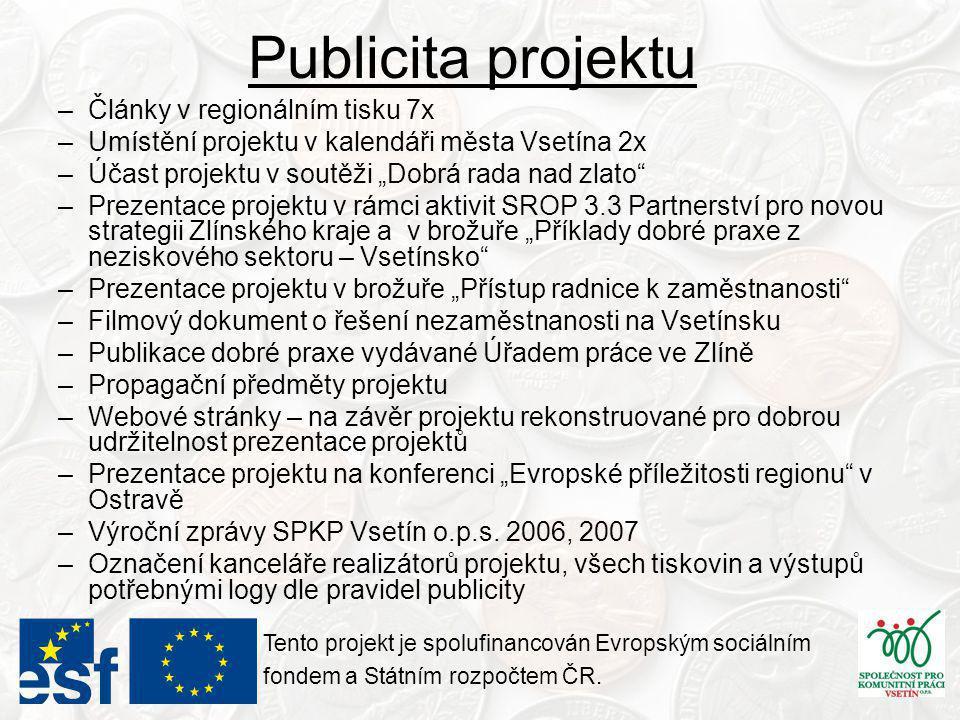 Publicita projektu Tento projekt je spolufinancován Evropským sociálním fondem a Státním rozpočtem ČR.