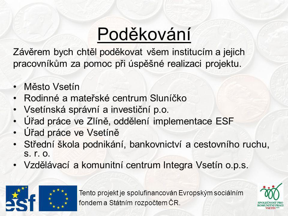 Poděkování Tento projekt je spolufinancován Evropským sociálním fondem a Státním rozpočtem ČR.