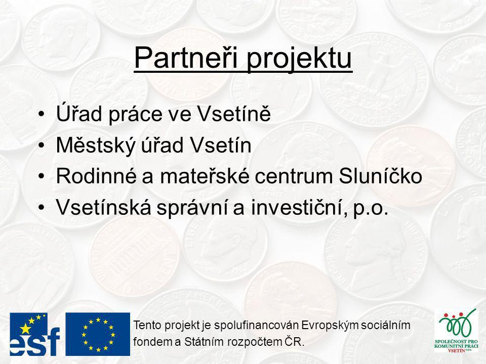 Cílové skupiny projektu •Osoby dlouhodobě nezaměstnané •Uchazeči o zaměstnání •Zájemci o zaměstnání •Zaměstnanci ohrožení nezaměstnaností •Z této klasifikace byly prioritně vybírány osoby z řad absolventů středních a vysokých škol a matky vracející se na trh práce po mateřské dovolené Tento projekt je spolufinancován Evropským sociálním fondem a Státním rozpočtem ČR.