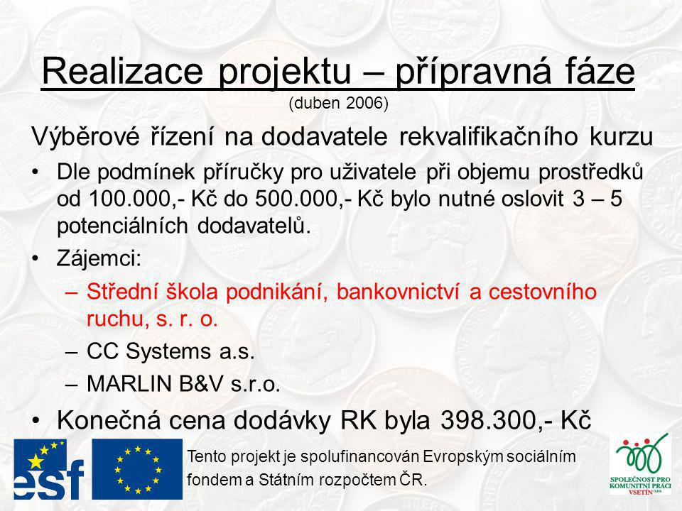 Realizace projektu – přípravná fáze (duben 2006) Výběrové řízení na dodavatele rekvalifikačního kurzu •Dle podmínek příručky pro uživatele při objemu prostředků od 100.000,- Kč do 500.000,- Kč bylo nutné oslovit 3 – 5 potenciálních dodavatelů.