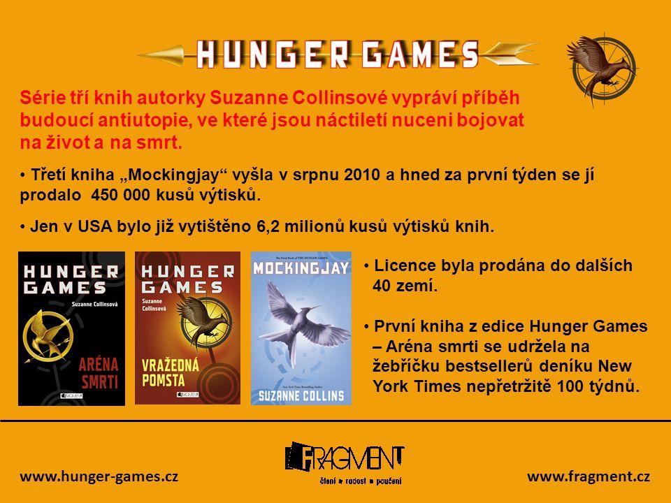 www.hunger-games.czwww.fragment.cz Série tří knih autorky Suzanne Collinsové vypráví příběh budoucí antiutopie, ve které jsou náctiletí nuceni bojovat