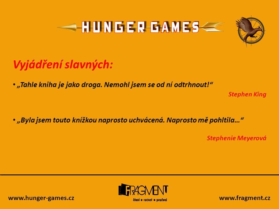 """www.hunger-games.czwww.fragment.cz Recenze na knihy ze zahraničí: • """"Kniha Hunger Games od Suzanne Collins mi spadla do klína v příhodnou chvíli: Zrovna jsem měl něco dočteného, noviny zapadaly sněhem a večeřet jsem měl sám."""