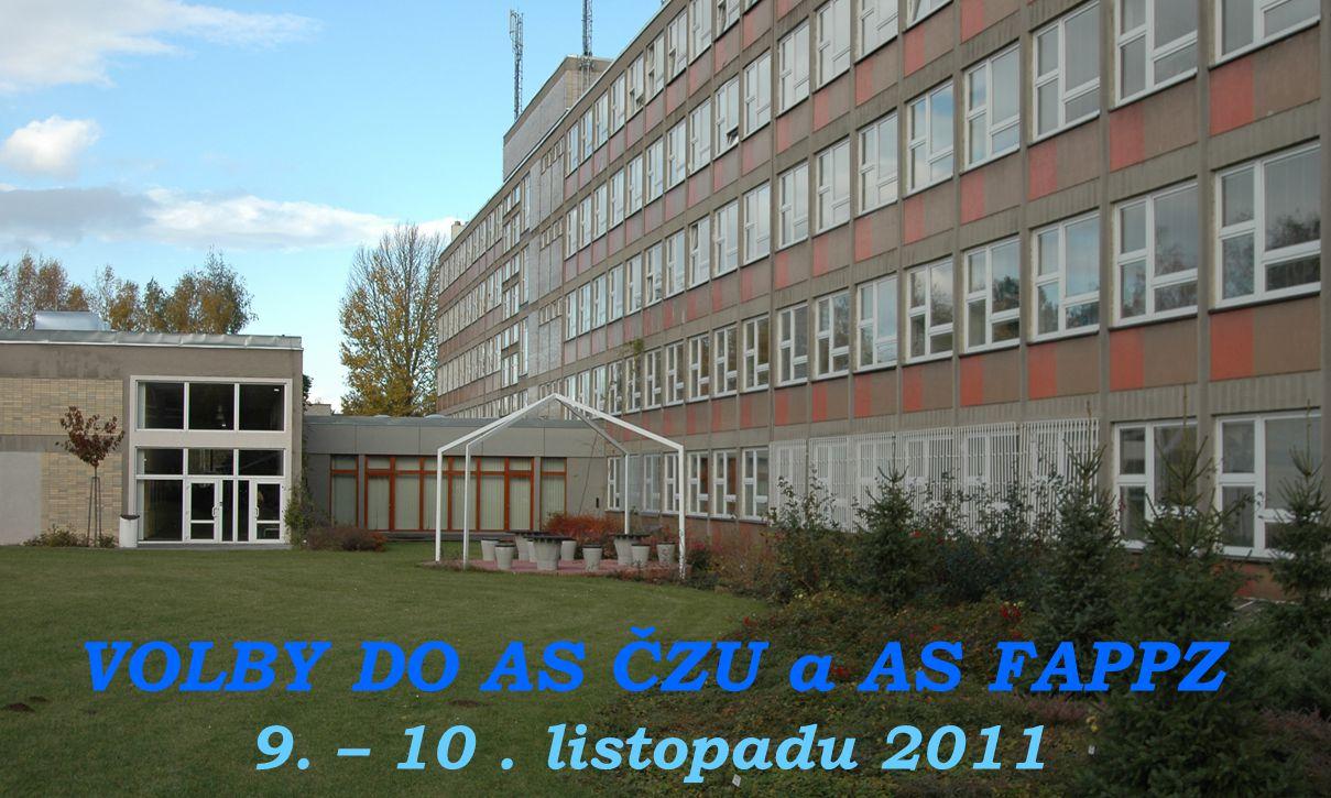 Akademický senát FAPPZ VYHLAŠUJE VÝSLEDKY ŘÁDNÝCH VOLEB DO AS ČZU a AS FAPPZ Zápis je vyvěšen na úřední desce AS do 21.11.2011 (přízemí, nástěnka ve vestibulu)