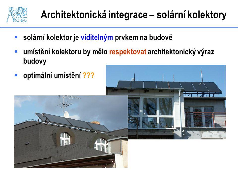 Architektonická integrace – solární kolektory  solární kolektor je viditelným prvkem na budově  umístění kolektoru by mělo respektovat architektonic