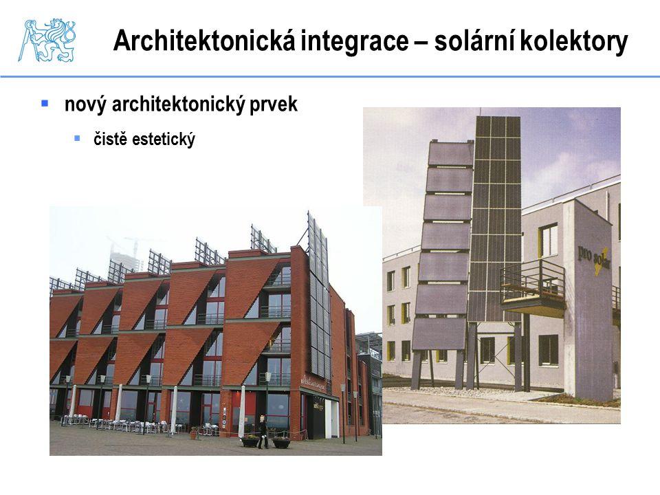 Architektonická integrace – solární kolektory  nový architektonický prvek  čistě estetický