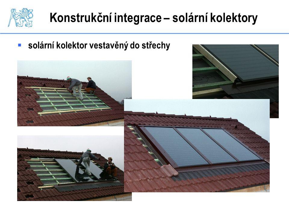 Konstrukční integrace – solární kolektory  solární kolektor vestavěný do střechy