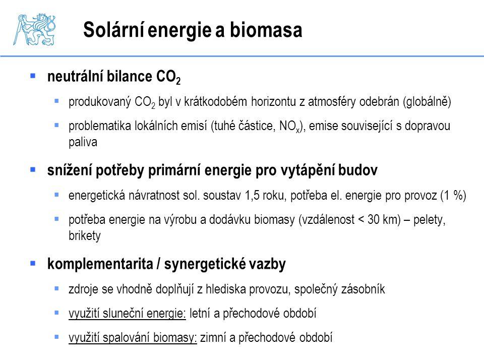 Solární energie a biomasa  neutrální bilance CO 2  produkovaný CO 2 byl v krátkodobém horizontu z atmosféry odebrán (globálně)  problematika lokáln