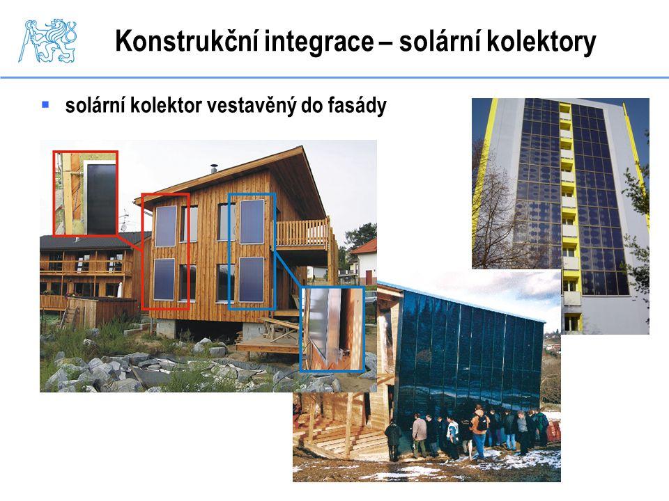 Konstrukční integrace – solární kolektory  solární kolektor vestavěný do fasády