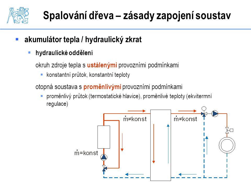 Spalování dřeva – zásady zapojení soustav  akumulátor tepla / hydraulický zkrat  hydraulické oddělení okruh zdroje tepla s ustálenými provozními pod