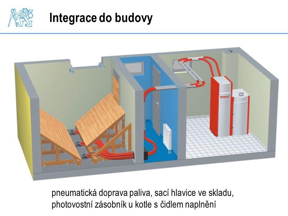 Integrace do budovy pneumatická doprava paliva, sací hlavice ve skladu, photovostní zásobník u kotle s čidlem naplnění