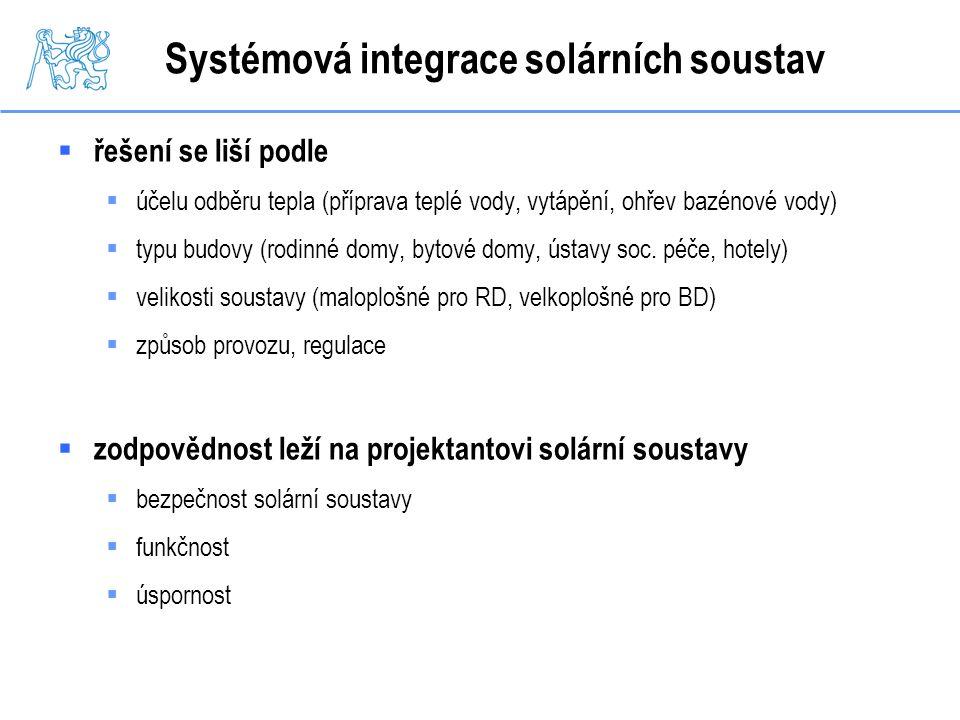 Systémová integrace solárních soustav  řešení se liší podle  účelu odběru tepla (příprava teplé vody, vytápění, ohřev bazénové vody)  typu budovy (