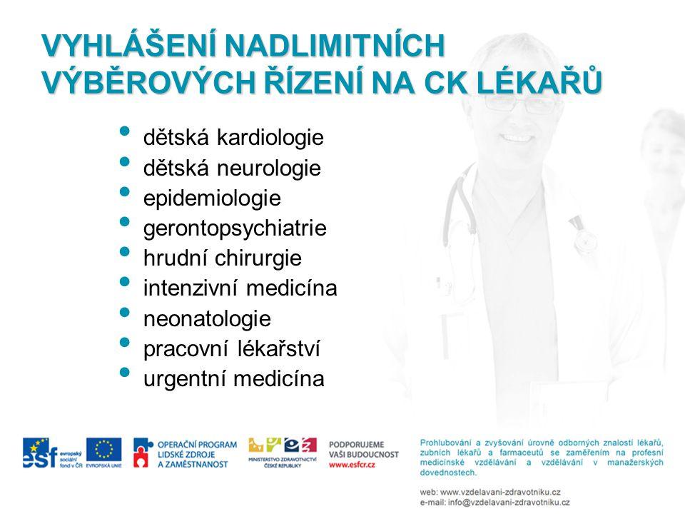 VYHLÁŠENÍ NADLIMITNÍCH VÝBĚROVÝCH ŘÍZENÍ NA CK LÉKAŘŮ • dětská kardiologie • dětská neurologie • epidemiologie • gerontopsychiatrie • hrudní chirurgie • intenzivní medicína • neonatologie • pracovní lékařství • urgentní medicína