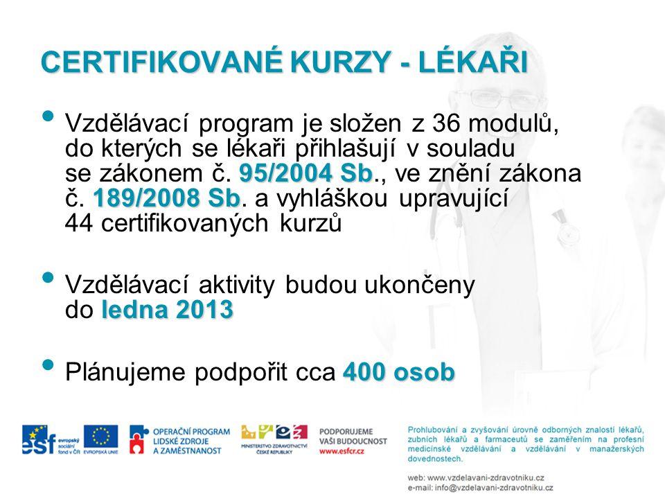 CERTIFIKOVANÉ KURZY - LÉKAŘI 95/2004 Sb 189/2008 Sb • Vzdělávací program je složen z 36 modulů, do kterých se lékaři přihlašují v souladu se zákonem č.