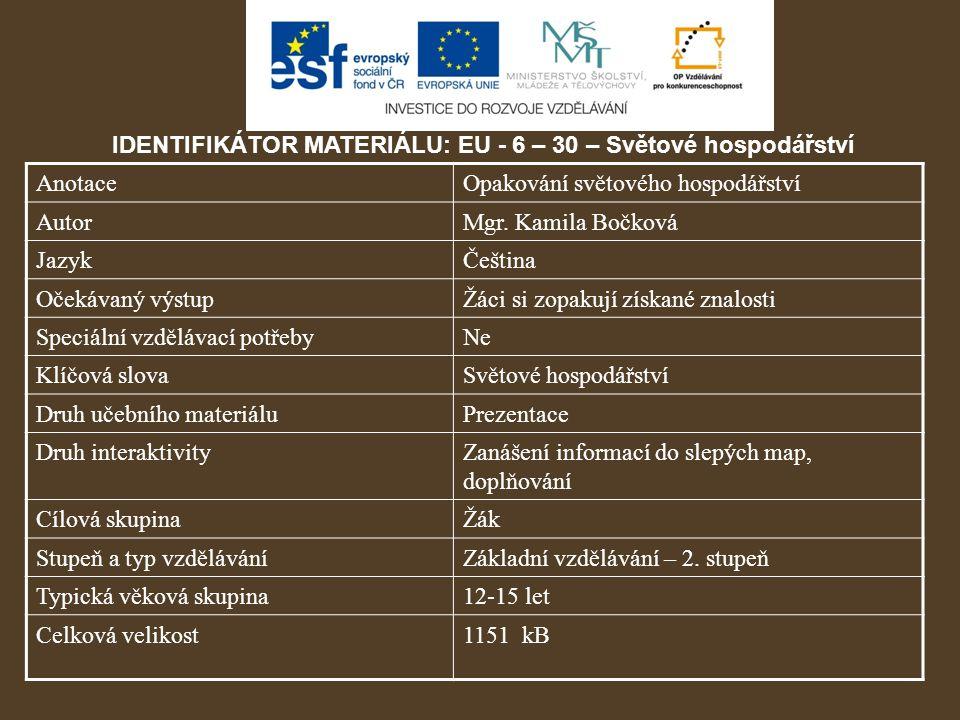 IDENTIFIKÁTOR MATERIÁLU: EU - 6 – 30 – Světové hospodářství AnotaceOpakování světového hospodářství AutorMgr.