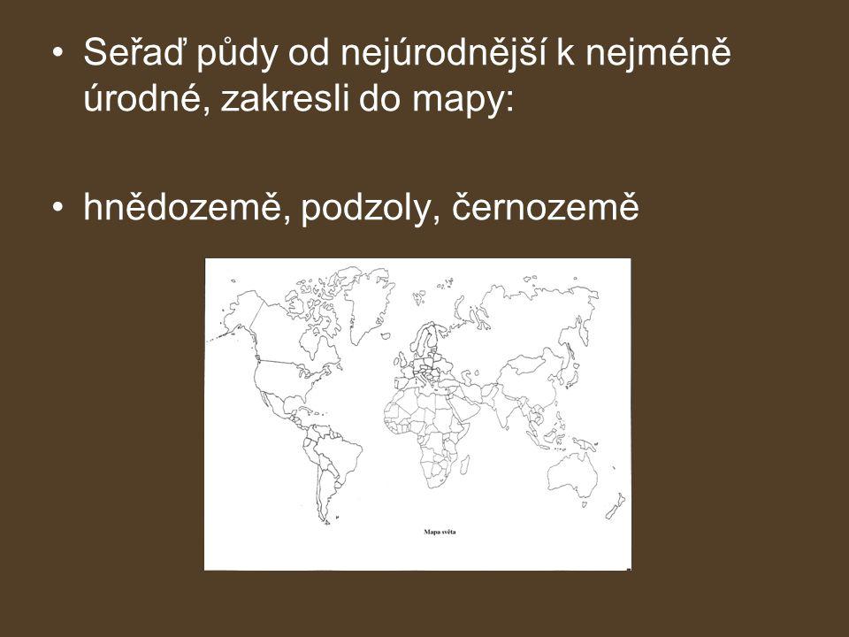 •Seřaď půdy od nejúrodnější k nejméně úrodné, zakresli do mapy: •hnědozemě, podzoly, černozemě