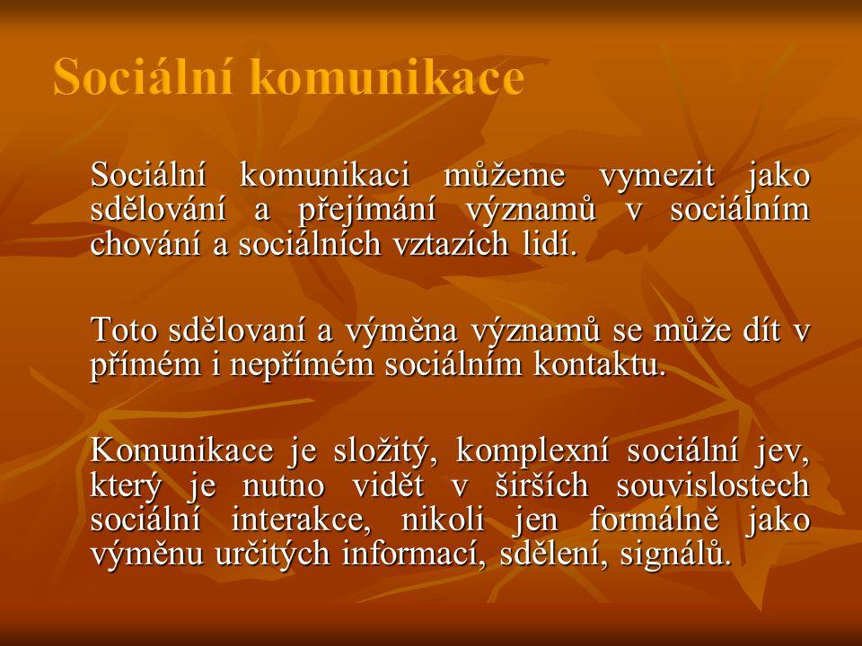 Sociální komunikaci můžeme vymezit jako sdělování a přejímání významů v sociálním chování a sociálních vztazích lidí.