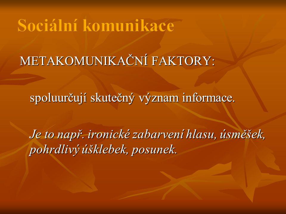 METAKOMUNIKAČNÍ FAKTORY: spoluurčují skutečný význam informace.