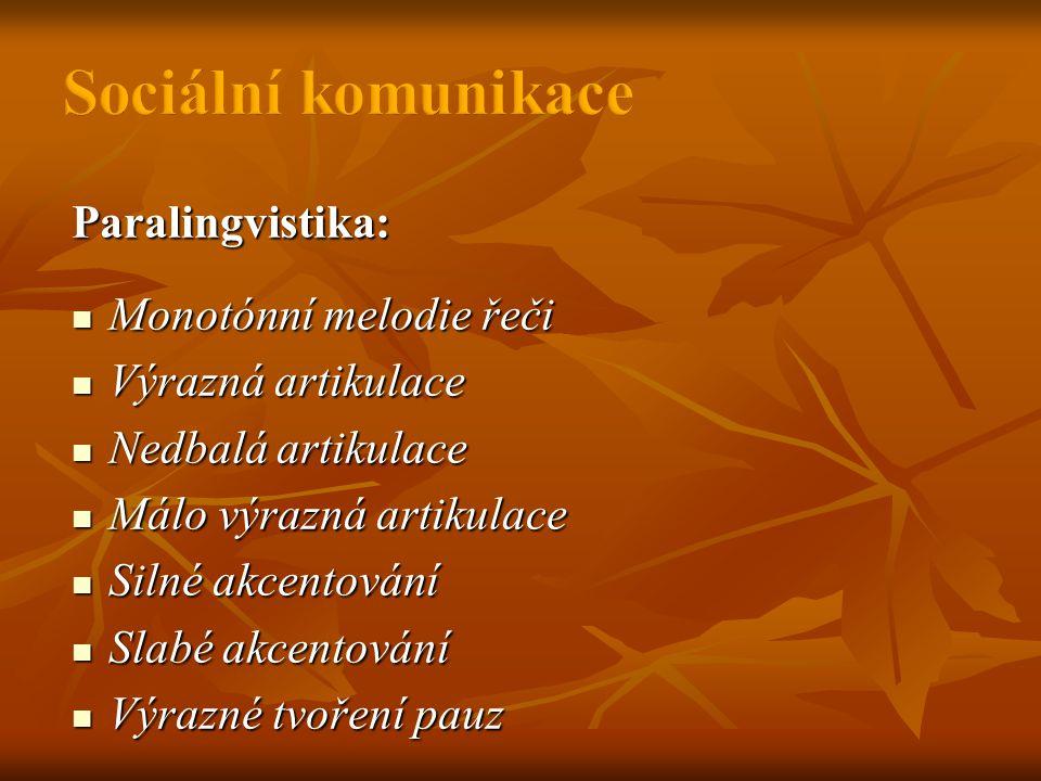 Paralingvistika:  Monotónní melodie řeči  Výrazná artikulace  Nedbalá artikulace  Málo výrazná artikulace  Silné akcentování  Slabé akcentování  Výrazné tvoření pauz