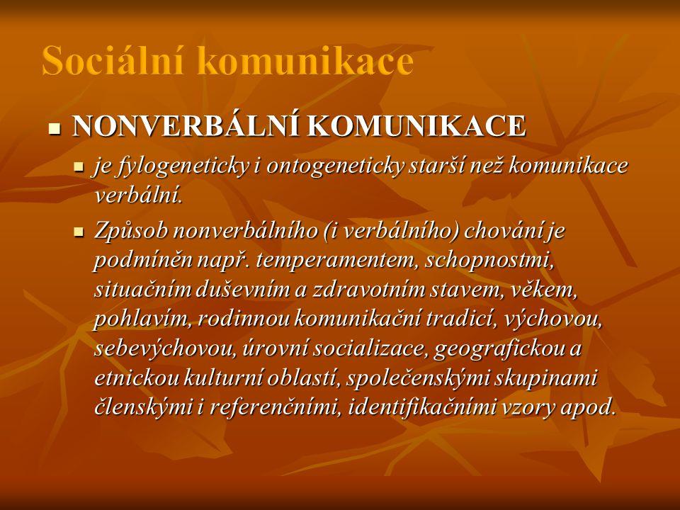 NONVERBÁLNÍ KOMUNIKACE  je fylogeneticky i ontogeneticky starší než komunikace verbální.