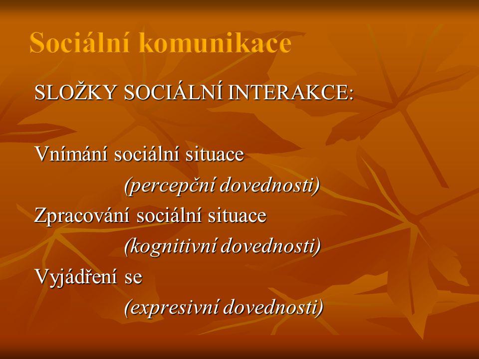 SLOŽKY SOCIÁLNÍ INTERAKCE: Vnímání sociální situace (percepční dovednosti) Zpracování sociální situace (kognitivní dovednosti) Vyjádření se (expresivní dovednosti)