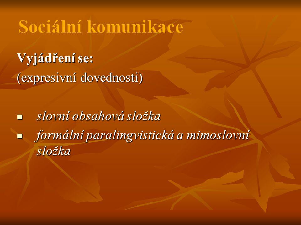Vyjádření se: (expresivní dovednosti)  slovní obsahová složka  formální paralingvistická a mimoslovní složka
