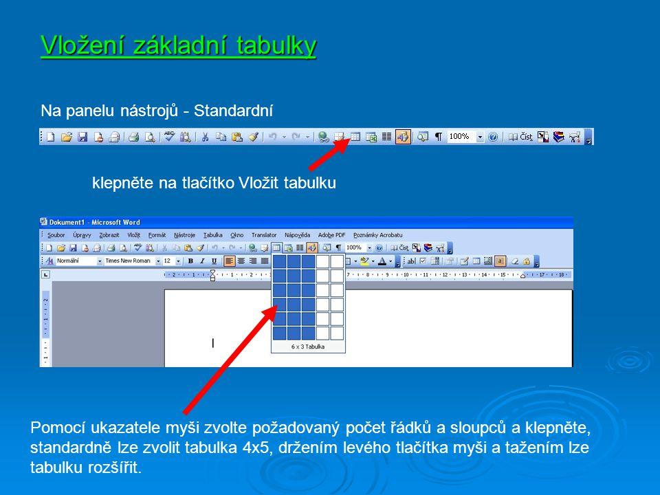 Vložení základní tabulky Pomocí ukazatele myši zvolte požadovaný počet řádků a sloupců a klepněte, standardně lze zvolit tabulka 4x5, držením levého t