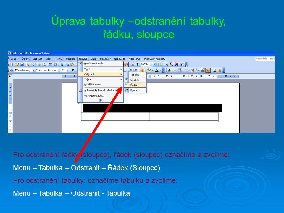 Úprava tabulky –odstranění tabulky, řádku, sloupce Pro odstranění řádky (sloupce), řádek (sloupec) označíme a zvolíme: Menu – Tabulka – Odstranit – Řá